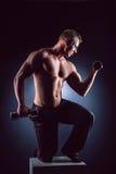 Knappe machts atletische mens in opleiding omhoog pompend spieren met domoren Opheffende domoor van de geschiktheids de spierbody Stock Foto