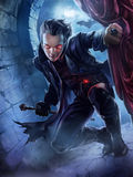 Knappe mannelijke vampier stock illustratie