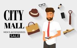 Knappe mens die online het winkelen doen Royalty-vrije Stock Afbeelding
