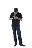Knappe mens met uitstekende verwarde fotocamera Royalty-vrije Stock Afbeeldingen