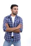 Knappe mens met verschillende uitdrukkingen op een witte achtergrond royalty-vrije stock afbeelding