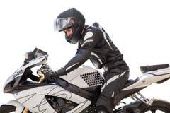 Knappe mens met zijn die motorfiets in wit wordt geïsoleerd royalty-vrije stock fotografie