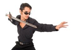 Knappe mens met zwaard Royalty-vrije Stock Afbeelding