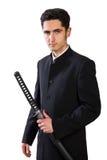Knappe mens met zwaard. Royalty-vrije Stock Foto