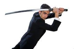 Knappe mens met zwaard. Royalty-vrije Stock Afbeelding
