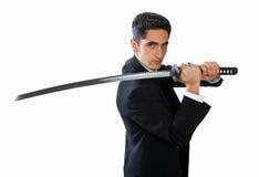 Knappe mens met zwaard. Stock Foto's