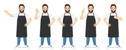 Knappe Mens in Schort vector illustratie