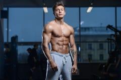 Knappe model jonge mensentraining in gymnastiek Stock Afbeelding