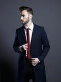 Knappe modieuze mens in de herfstlaag Stock Fotografie