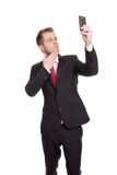 Knappe zakenman die een selfie nemen Royalty-vrije Stock Foto's