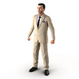 Knappe zakenman Geïsoleerd over witte 3D Illustratie Stock Afbeeldingen