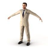 Knappe zakenman Geïsoleerd over witte 3D Illustratie Stock Fotografie