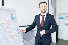 Knappe Zakenman Giving Presentation in Whiteboard royalty-vrije stock foto