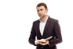Knappe zakenman met agenda Stock Foto