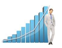 Knappe zakenman met grote 3d grafiek Royalty-vrije Stock Foto