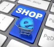 Knappen e-shoppar och cart Stock Illustrationer