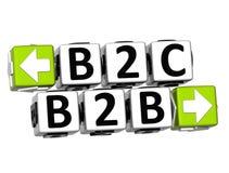 knappen för 3D B2B B2C klickar här kvartertext stock illustrationer