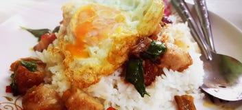 Knapperig die het Varkensvleesbasilicum van Fried Rice met de straatvoedsel van Eithailand wordt gebraden stock fotografie