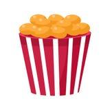 Knapperig Fried Snack In Stripy Bucket, Bioskoop en Filmtheater Verwante Objecten Beeldverhaal Kleurrijke Vectorillustratie Stock Afbeeldingen