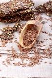 Knapperig vlasbrood Knäckebroodcrackers van lijnzaad, groene boekweitzaden en groene uien Vrij gluten Gezonde Snack stock fotografie
