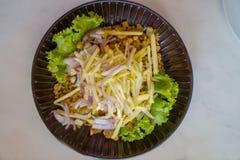 Knapperige katvis kruidige salade met groene mango, Thais voedsel, Knapperige ca Royalty-vrije Stock Foto