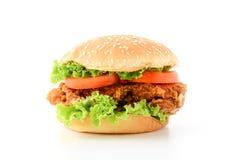 Knapperige kippenhamburger Stock Foto's