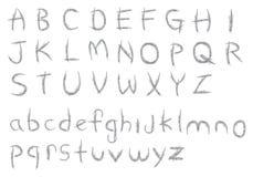 Knapphändig färgpenna texturerad design för alfabetvektorstilsort Arkivbilder