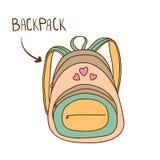 Knapphändig illustration av trendig kvinnas ryggsäck Royaltyfri Bild