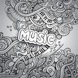 Knapphändiga anteckningsbokklotter för musik. Arkivbilder