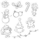 Knapphändiga julsymboler royaltyfri illustrationer