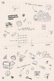 Knapphändiga timeline- och planläggningsanmärkningar arkivfoton