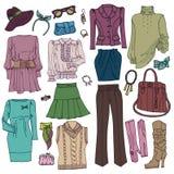 Knapphändigt mode Kvinnas kläder och tillbehör vektor illustrationer
