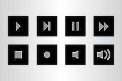 Knappkontrollmassmedia ställde in symboler på grå bakgrund royaltyfri illustrationer