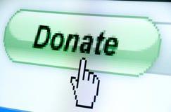 knappmarkören donerar handen Fotografering för Bildbyråer