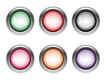 Knapprengöringsduksymboler i olika färger Royaltyfri Bild