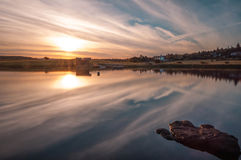 Knapps loch zmierzch Scotland zdjęcie stock