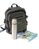 Knapsack. With thermos against white background Royalty Free Stock Photography