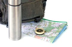 Knapsack. With thermos against white background Royalty Free Stock Image