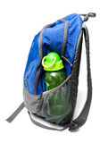 Knapsack. Childs knapsack ready for back to school with water bottle, isolated Royalty Free Stock Image