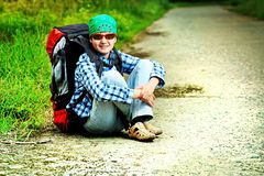 Knapsack. A boy teenager with knapsack posing outdoor. Tourism, active life Stock Photos