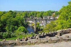 英国小山knaresborough高架桥视图 免版税库存照片