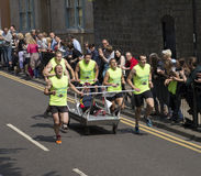 Knaresborough bed race 2015. Team picture bed royalty free stock photo