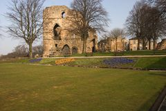 Knaresborough Castle,. DSC 03241. The remains of the 14th. century castle at Knaresborough. the castle was built in Norman times and rebuilt by Queen Elizabeth Stock Photos