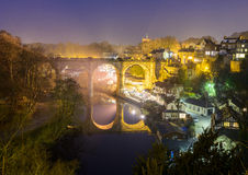 Knaresborough at night. With a view of the viaduct Stock Images