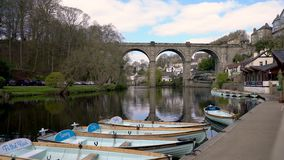 Knaresborough with River Nidd and railway viaduct, Yorkshire stock video footage