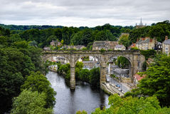 Knaresborough town. Elevated view of stone viaduct over river Nidd in Knaresborough town, North Yorkshire, England Stock Images