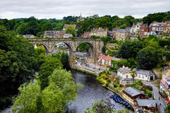 Knaresborough town. Aerial view of Knaresborough town with stone viaduct over river Nidd, North Yorkshire, England Royalty Free Stock Photography