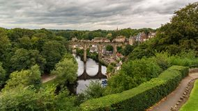 Knaresborough Viaduct, North Yorkshire, UK. Knaresborough, North Yorkshire, England, UK - September 09, 2016: View from the Castle Grounds towards the River Nidd Royalty Free Stock Photos