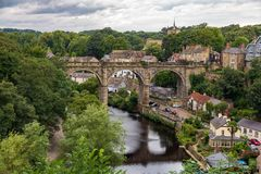 Knaresborough Viaduct, North Yorkshire, UK. Knaresborough, North Yorkshire, England, UK - September 09, 2016: View from the Castle Grounds towards the River Nidd Royalty Free Stock Photography