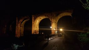 Knaresborough viadukt på natten Royaltyfri Fotografi